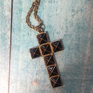 Vintage Black Stud Cross Necklace